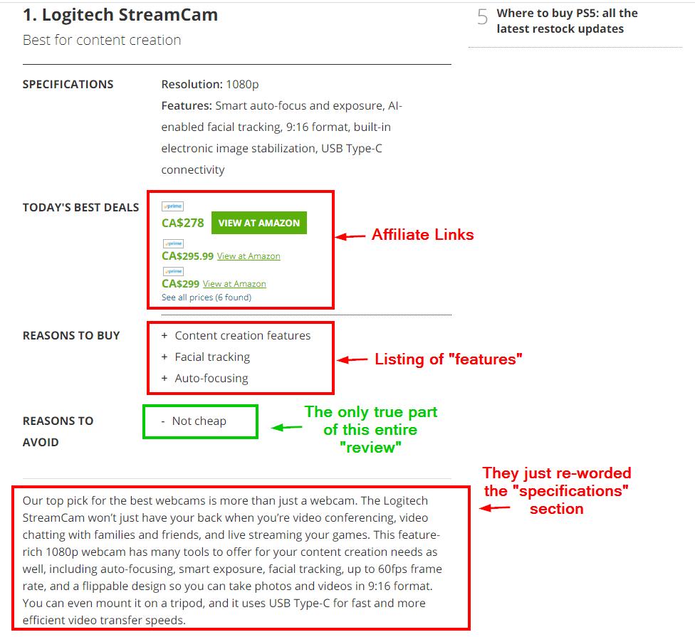 An image of Tech Radar's website having irrelevant content